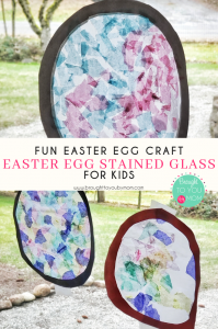 Easter egg craft for kids to make stained glass Easter eggs.