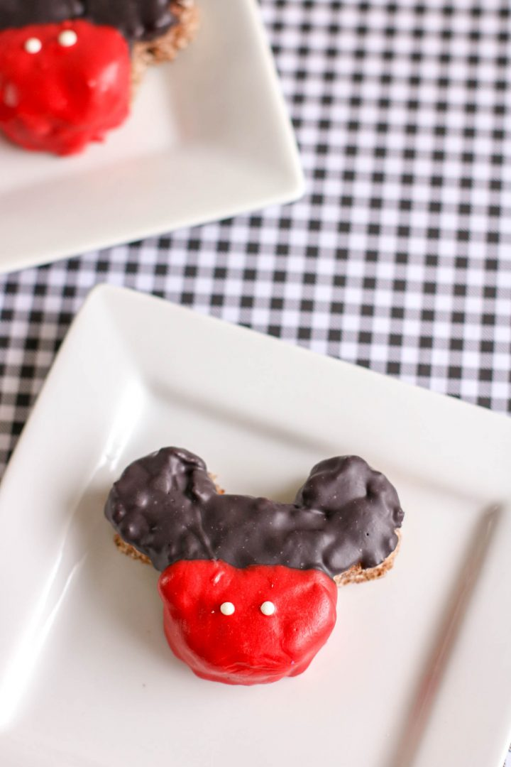 two homemade mickey mouse krispie treats