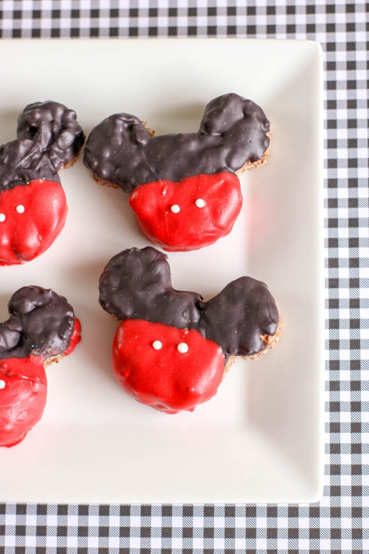 mickey mouse krispie treats on white plate