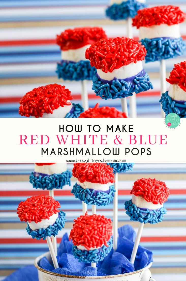 Are you look for something fun to decorate and enjoy the 4th of July? These Red White and Blue Candy Marshmallow Pops are perfect! Great for a 4th of July table decoration. #4thofjuly #marshmallowpops