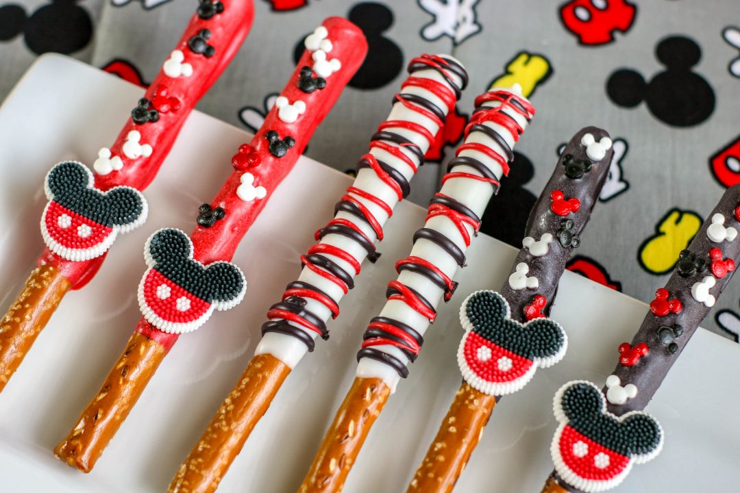 mickey mouse decorated pretzel rods