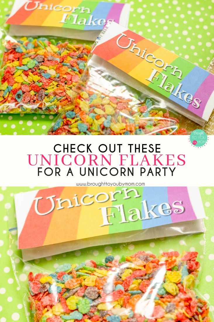 Unicorn Flakes make for perfect unicorn party snacks. Create unicorn food for your next rainbow themed party or fun snack ideas for kids. #unicornparty