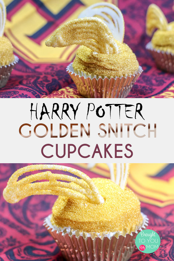 Who lovesHarry Potter? Add in Harry Potter cupcakes and we are golden! Speaking of golden, why not enjoy these Harry Potter Golden Snitch Cupcakes at your next magical party? Perfect for a Harry Potter Party or movie night!  #harrypotter #cupcakes