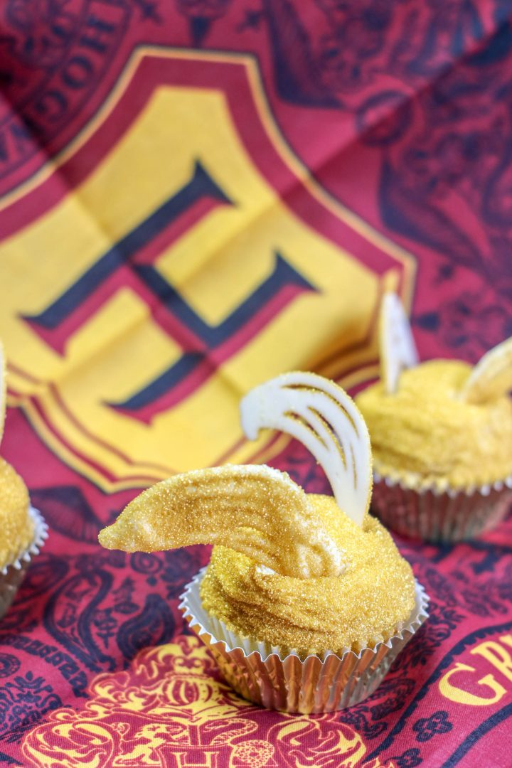 golden snitch cupcakes with wings