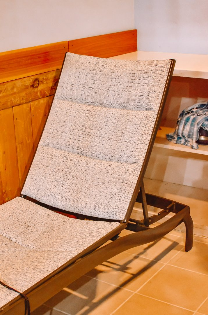 Lounge chair in cabana.
