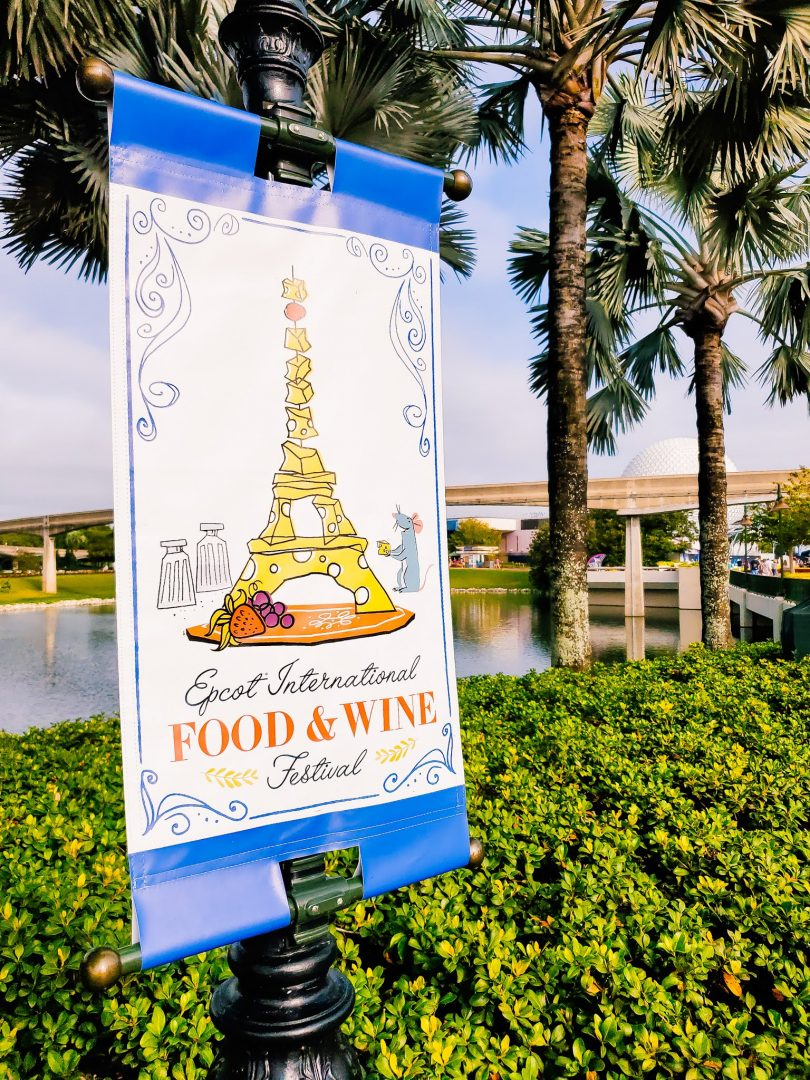 Epcot International Food and Wine Festival poster at Epcot in 2019.