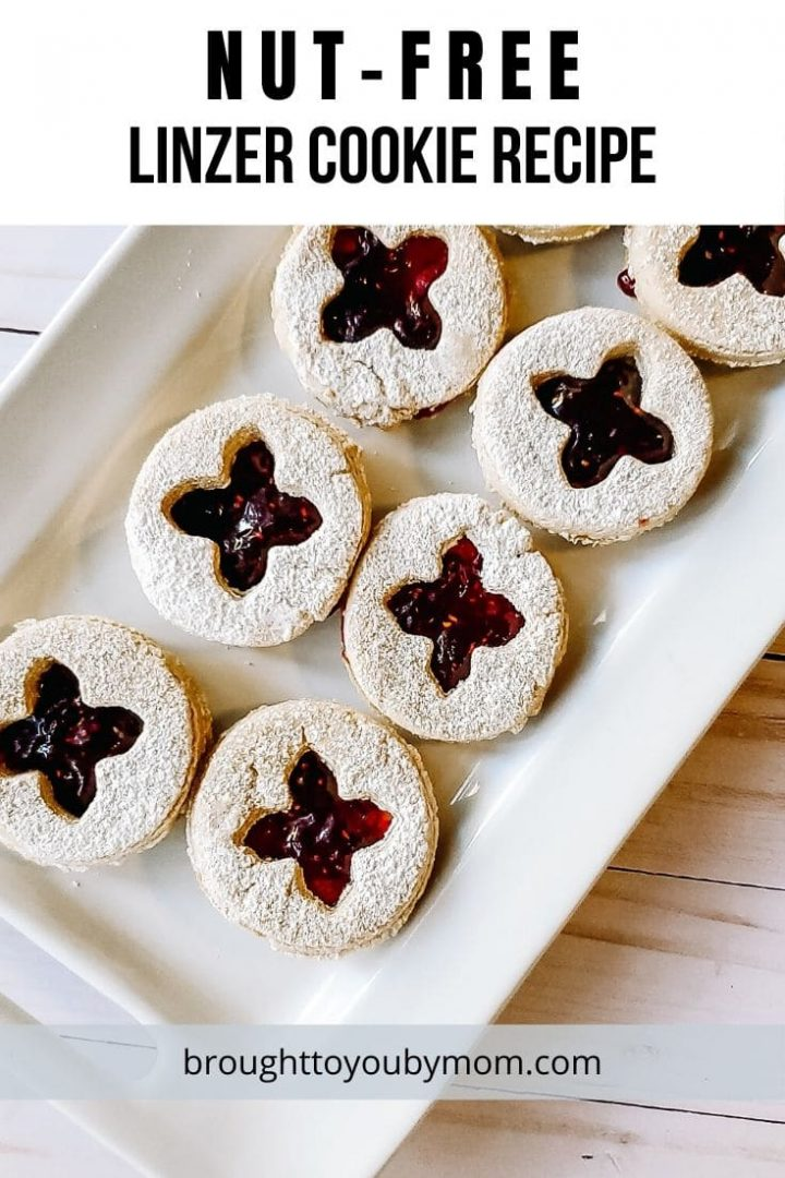 nut-free linzer cookies on white plate