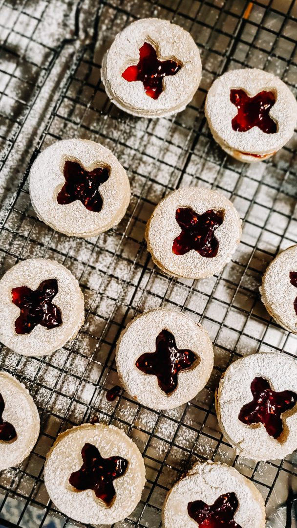 linzer cookies on cooling wrack