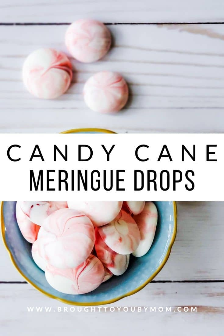 Candy Cane Peppermint Meringue Drops are light and airy dessert that are perfect for the peppermint lover. It also isn't tough on the teeth! #peppermintmeringue #candycanedrops #peppermintcandy