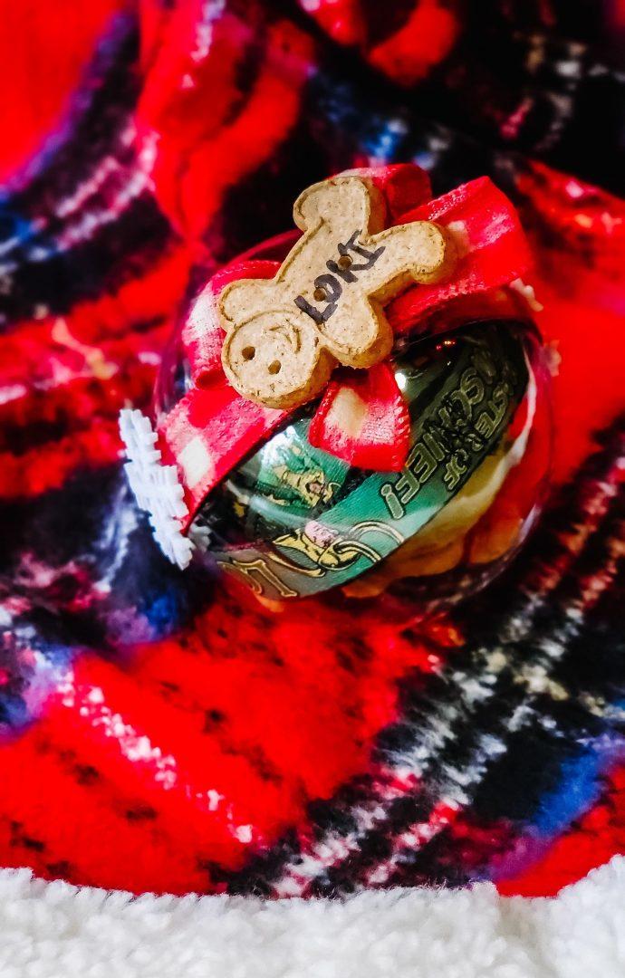 dog gift on plaid tree skirt