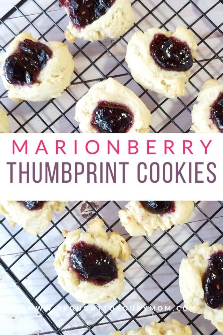 marionberry thumbprint cookies on cooling rack
