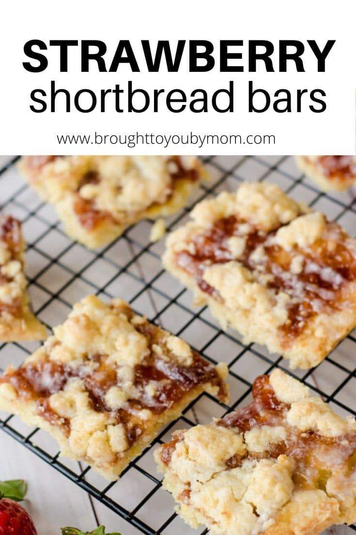 Strawberry Shortbread Bars make for the perfect dessert to giveaway for Valentine's Day, Christmas, or to enjoy any time of the year. #shortbread #strawberryshortbreadbars #shortbreadcookies