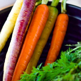 colorful carrots in air fryer basket