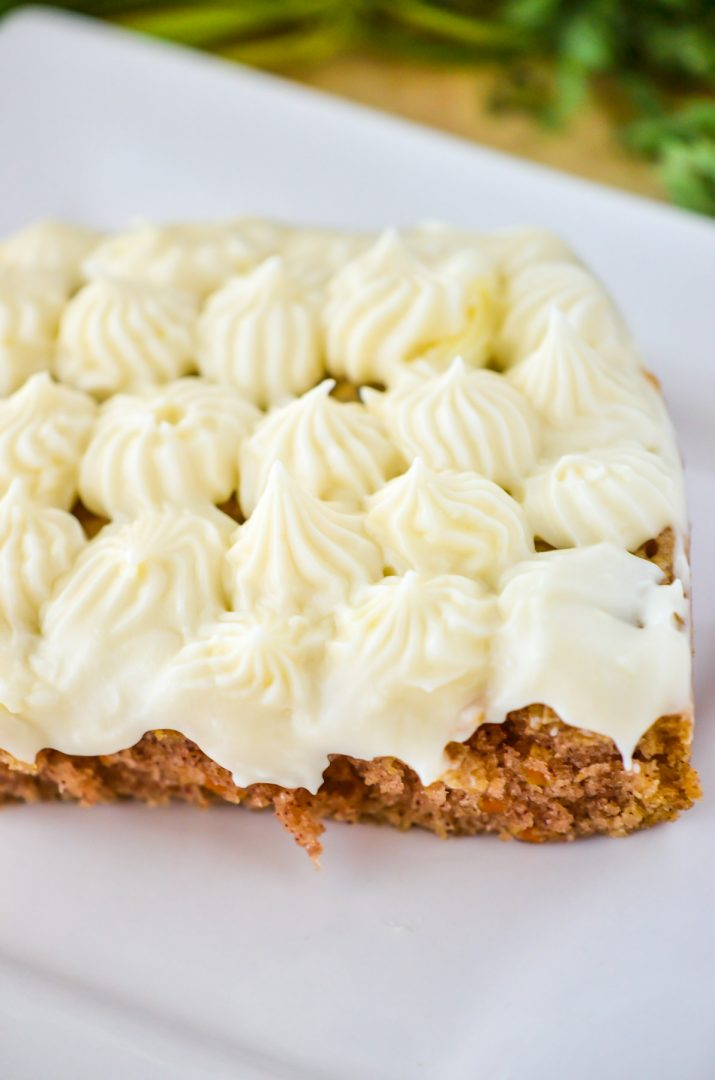 carrot cake with frosting on top