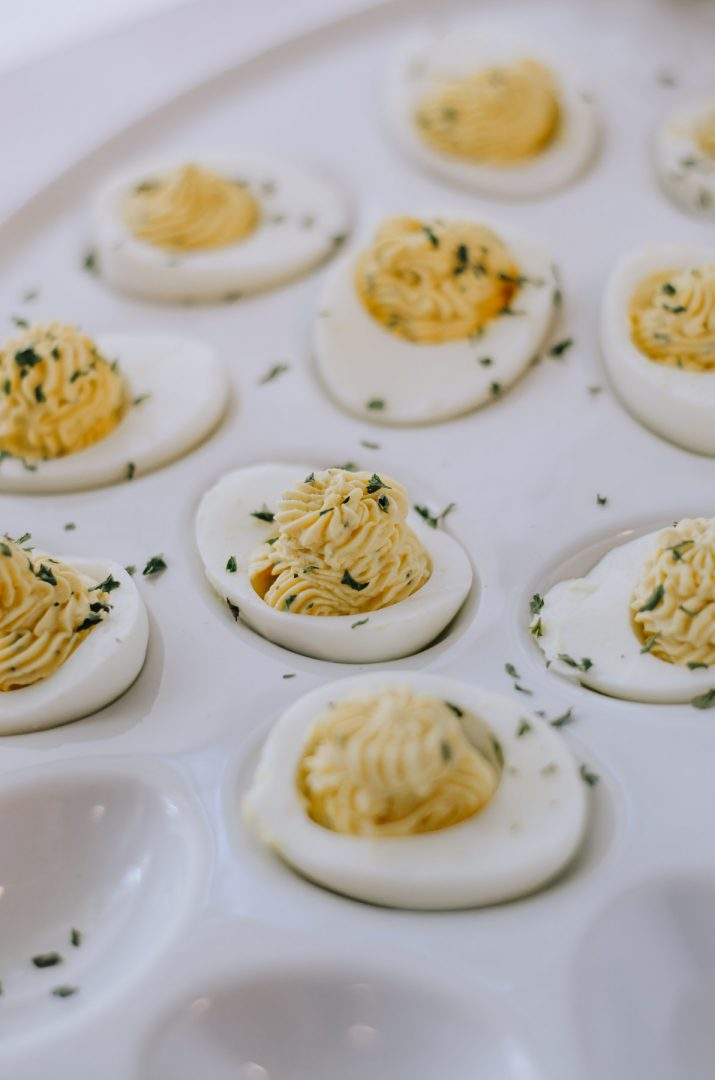 delived eggs on white tray