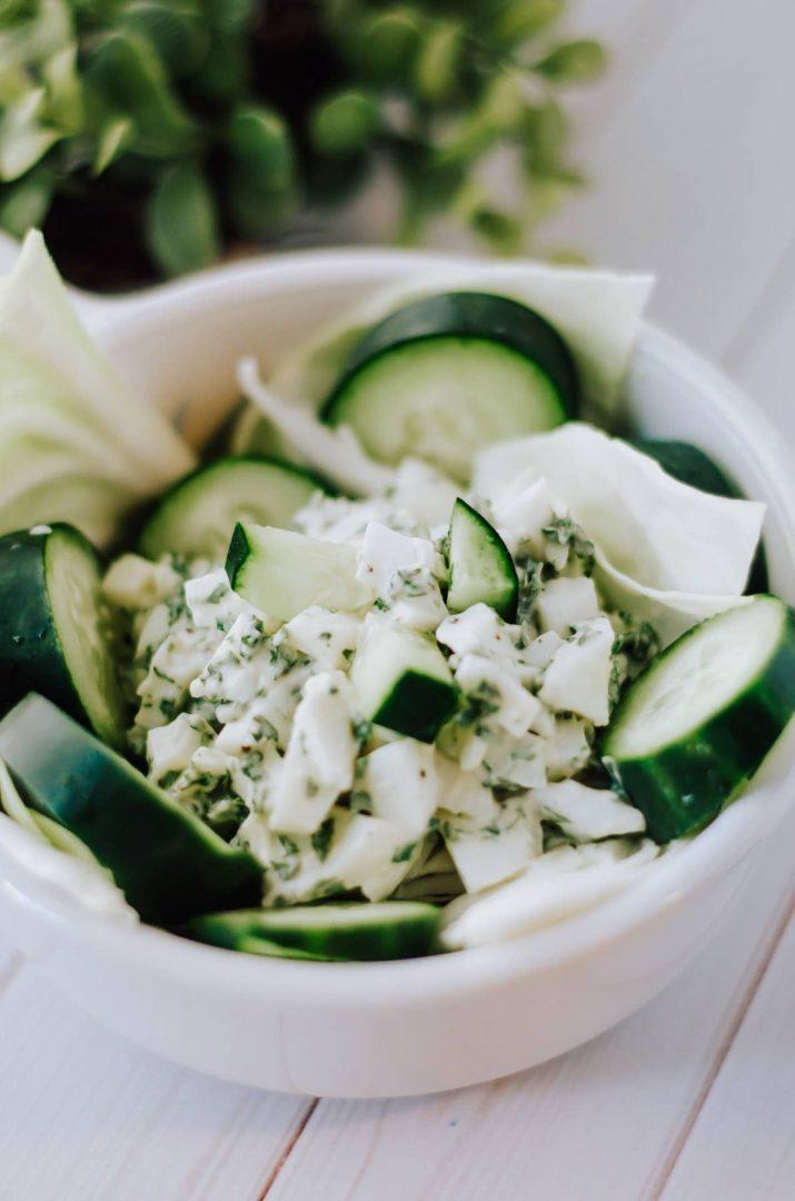 egg white salad over greens