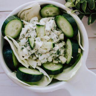 egg white salad in white bowl