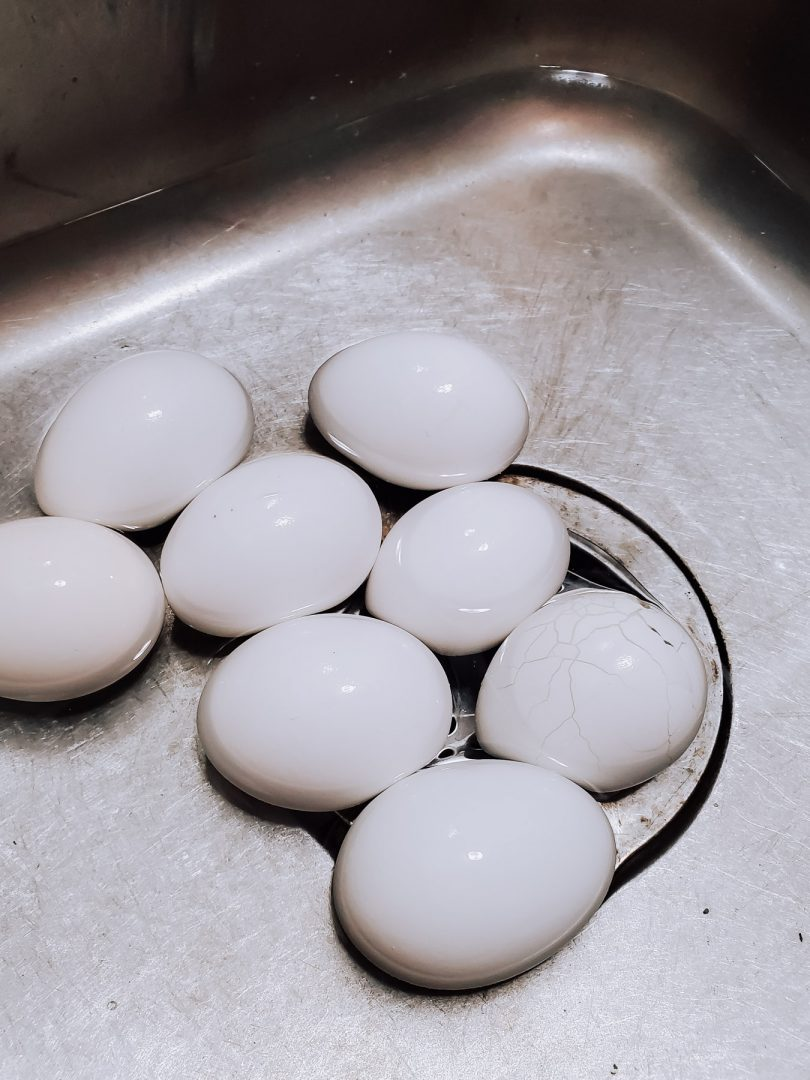 hard boiled eggs in water