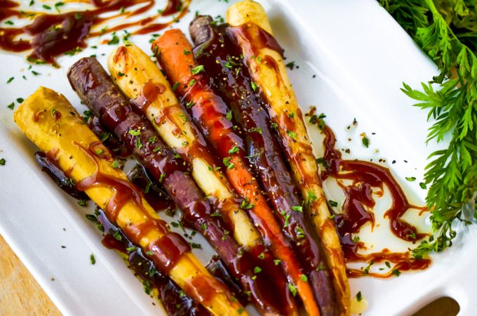 honey glazed roasted carrots on white plate