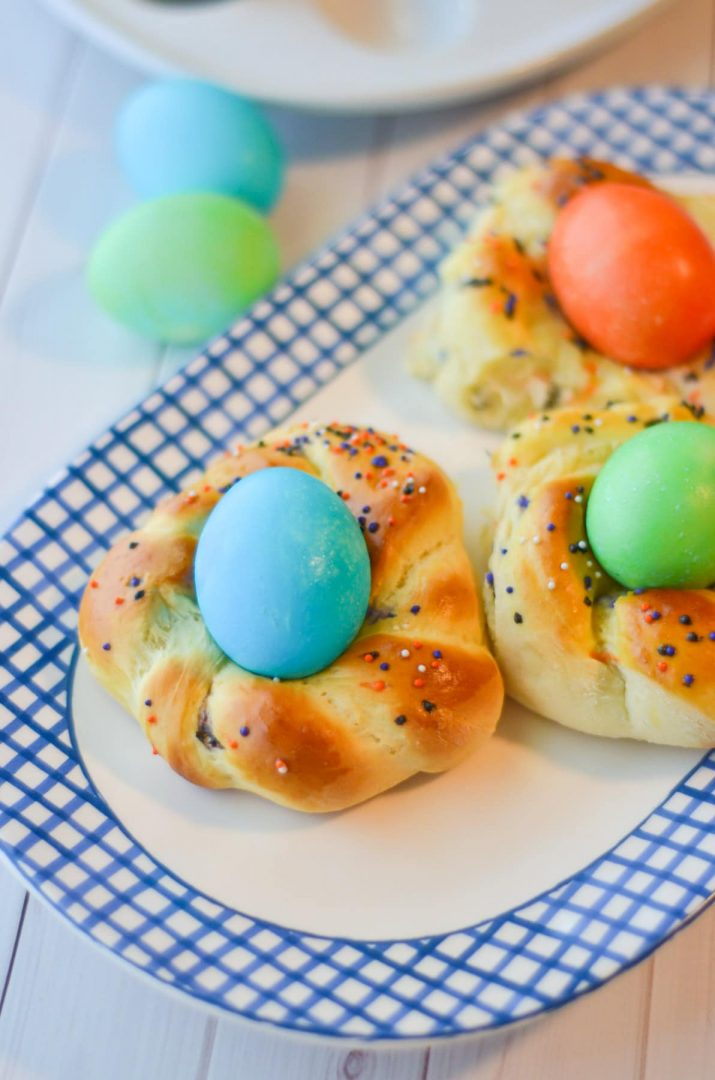easter italian bread rolls with colored eggs