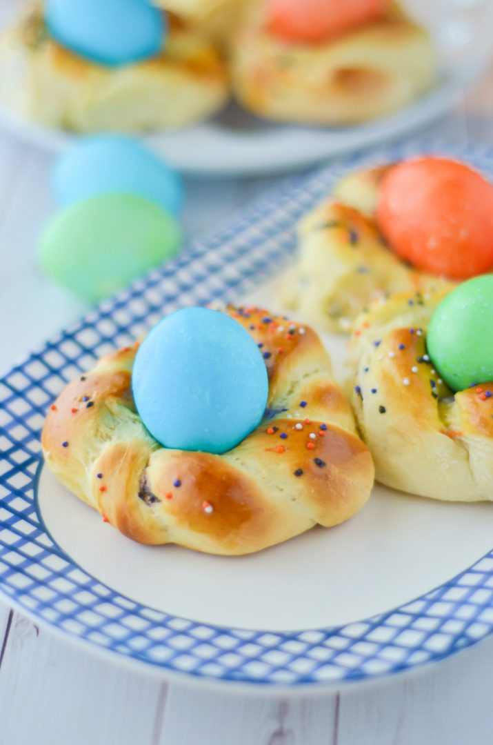 easter bread with eggs on top