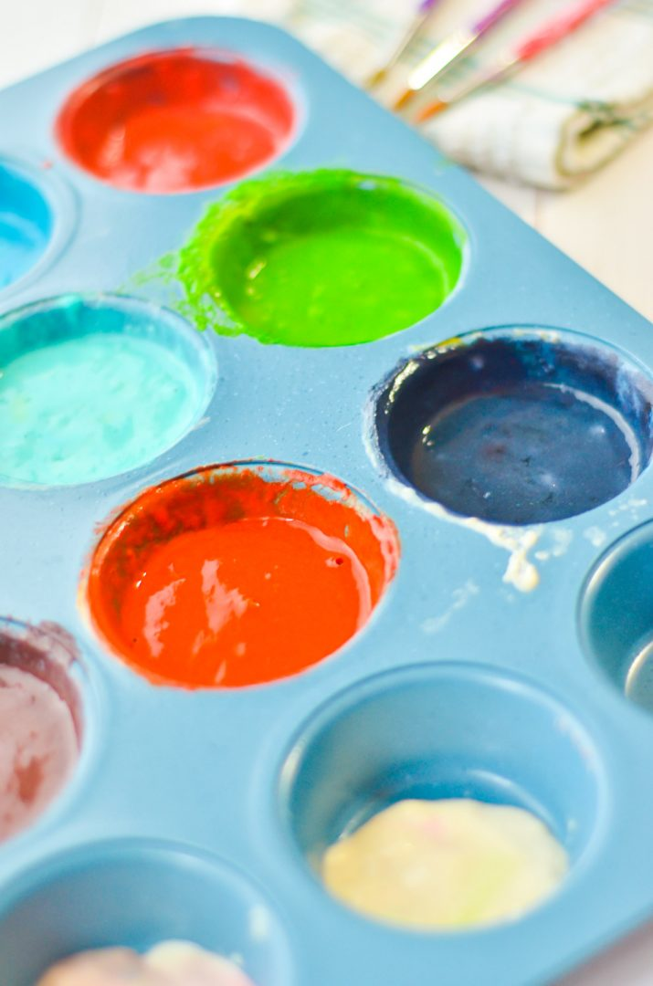 washable homemade window paint in muffin pan