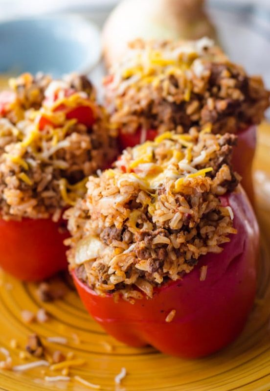 stuffed peppers on yellow plate