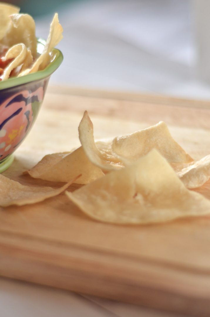 tortilla chips next to bowl