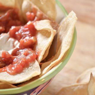 Make air fryer tortilla chips easily at home for a great snack. #airfryertortillachips #tortillachips #howtomaketortillachips