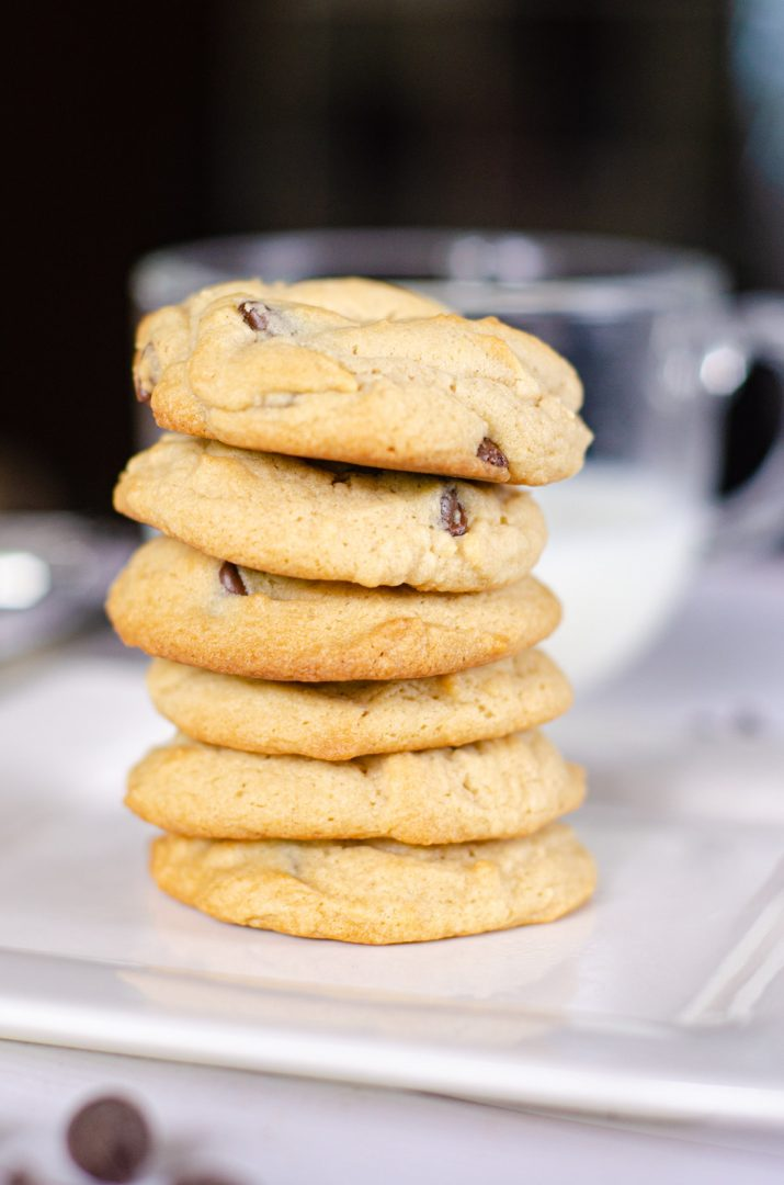 chocolate chip cookies stacked on plate in front of glass of milk