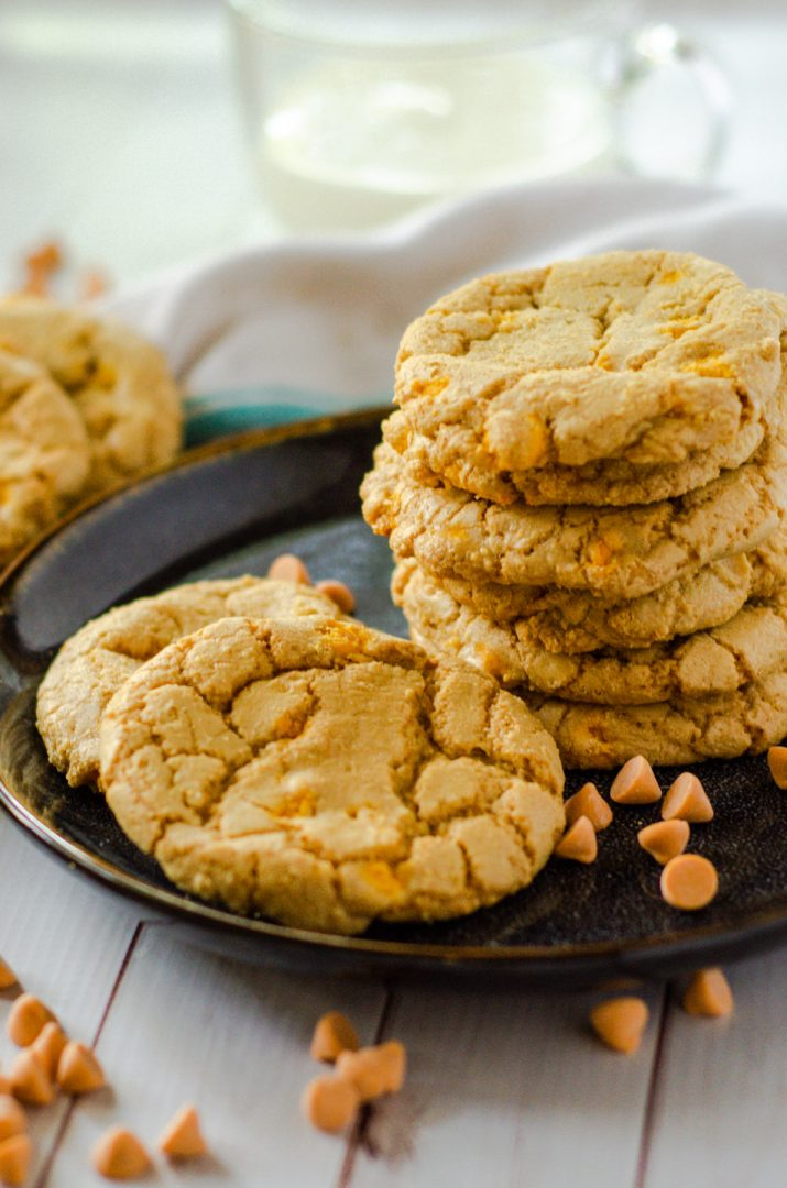 butterscotch cookies stacked on plate