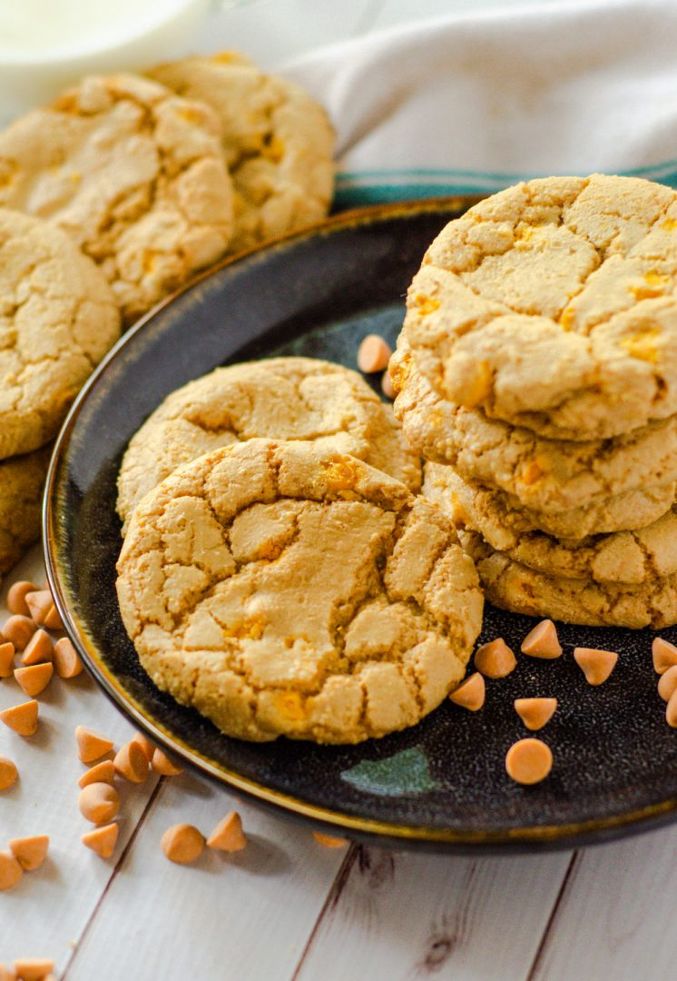 butterscotch cookies on black plate